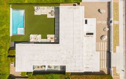 aerial shot of home