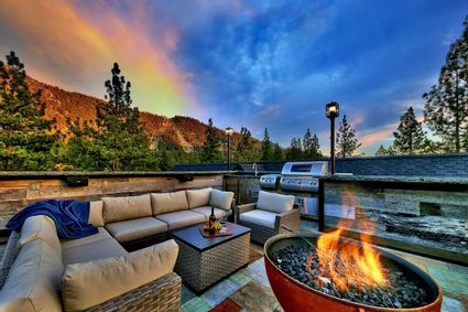 deck at sunset with firepit