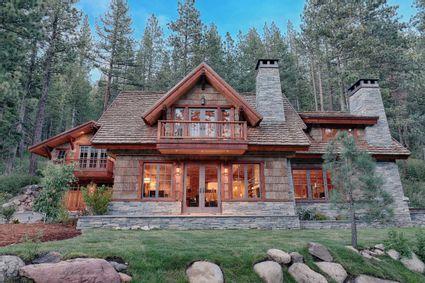 front door of log cabin