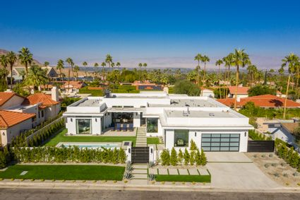aerial of palm springs house