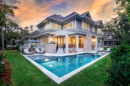 two story exterior and pool