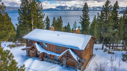 tahoe house with lake in back
