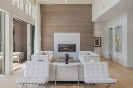 living room with large fireplace