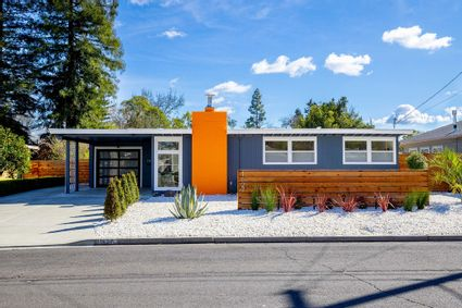 front exterior of midcentury modern house