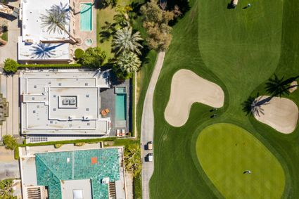 aerial of house and golf course
