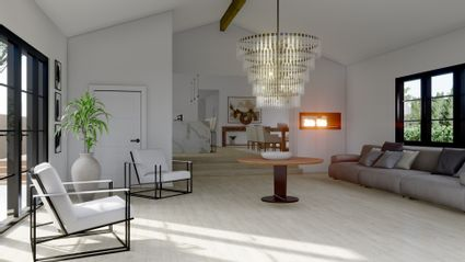 living room rending with chandelier