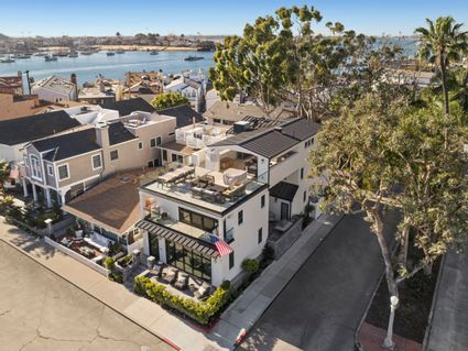 Aerial of front and rooftop deck