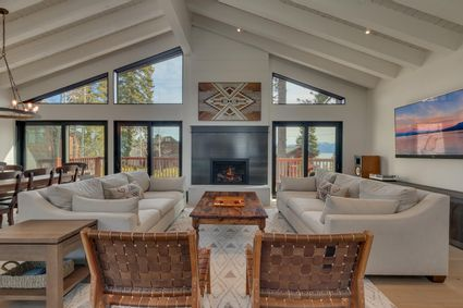 modern cabin living room with fireplace