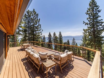 deck with view of lake tahoe