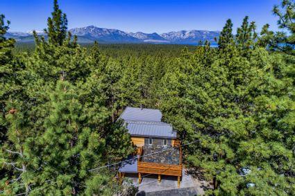 aerial shot of tahoe home