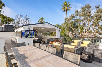 rooftop deck with tv and firepit