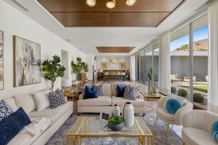 living room with dining room view