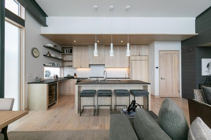 L shaped kitchen and island
