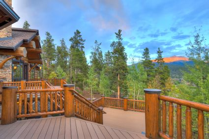 deck with views of trees