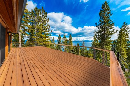 large deck space with lake view