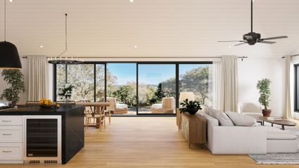 rendering of open concept living and view