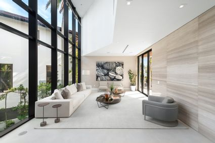glass-doored seating area